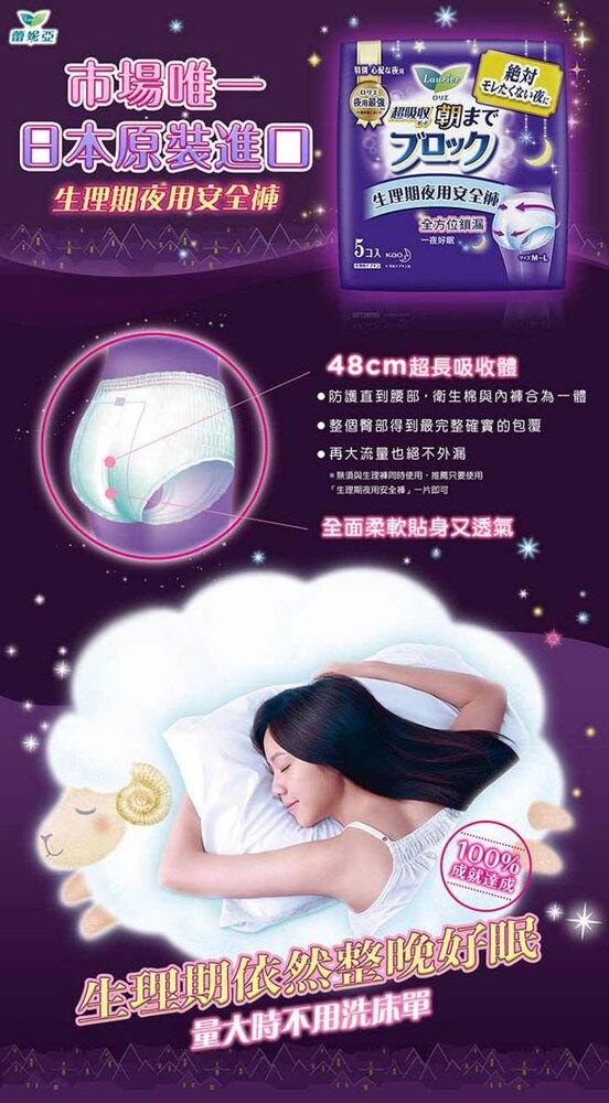 蕾妮亞 淨吸柔護超吸收夜用褲型衛生棉 (5片x4包) Laurier│9481生活品牌館