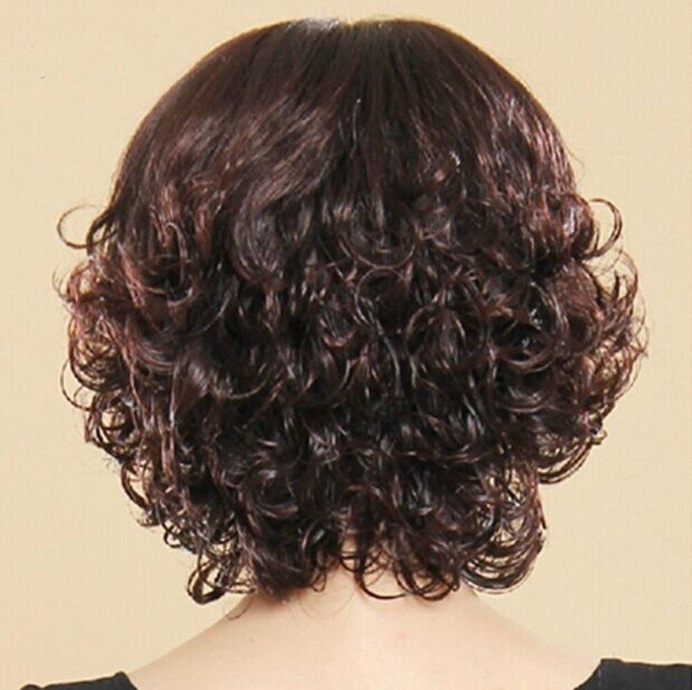 假髮女時尚短捲髮中老年假髮女碎斜齊劉海媽媽整頂假髮化療假髮套 沸點奇跡 雙12購物節