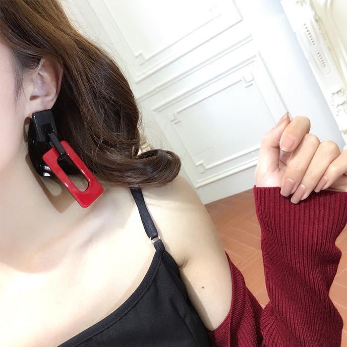 港風耳環夸張女百搭韓國氣質流蘇幾何網紅個性吊墜耳飾品耳墜耳釘1入