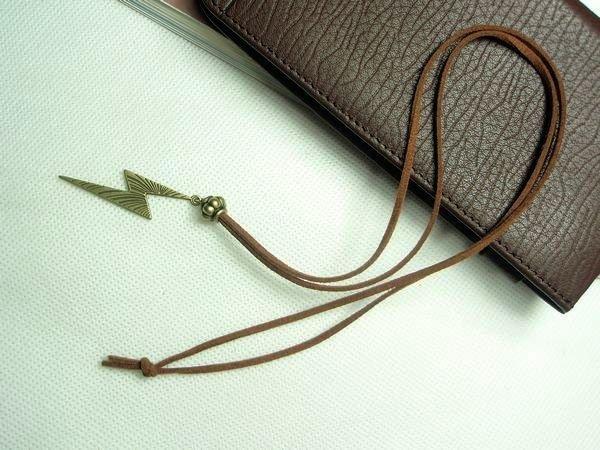 飾品 個性精美可愛複古古銅色閃電絨皮繩毛衣鏈項鏈