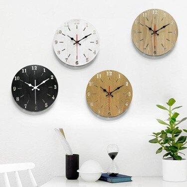 實木鐘表北歐家庭表鐘時鐘掛鐘客廳現代簡約掛表靜音創意大氣壁鐘WY  聖誕節禮物