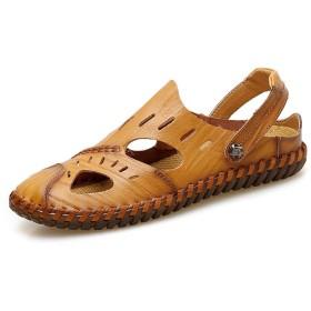 メンズ シューズ 快適 男性のためのサンダルスリッパ靴スリップオンOXレザーアンチコリジョントウ中空デュアルパーパス (Color : Yellow Brown, サイズ : 24 CM)