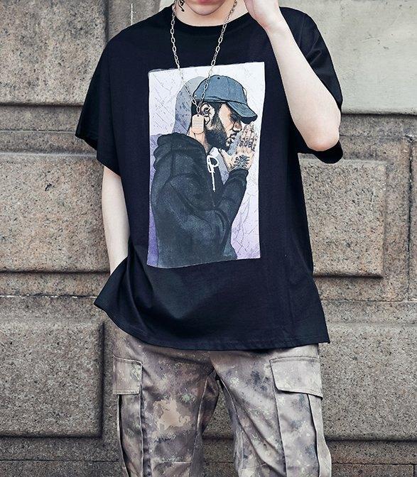 FINDSENSE H1夏季 新款 韓國 街頭 原宿 人物圖案印花 時尚 寬鬆  個性短袖 半袖T恤 潮男 上衣