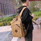 後背包男韓版潮流青年男士帆布背包休閒包旅行包新款中大學生書包  卡布奇諾SUPER 全館特惠9折