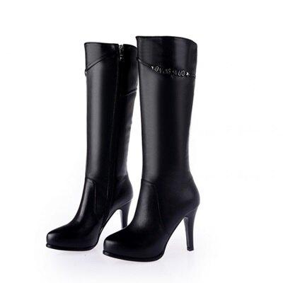 長靴真皮高跟靴子-精緻字母金屬裝飾女鞋2色73iv7【獨家進口】【米蘭精品】