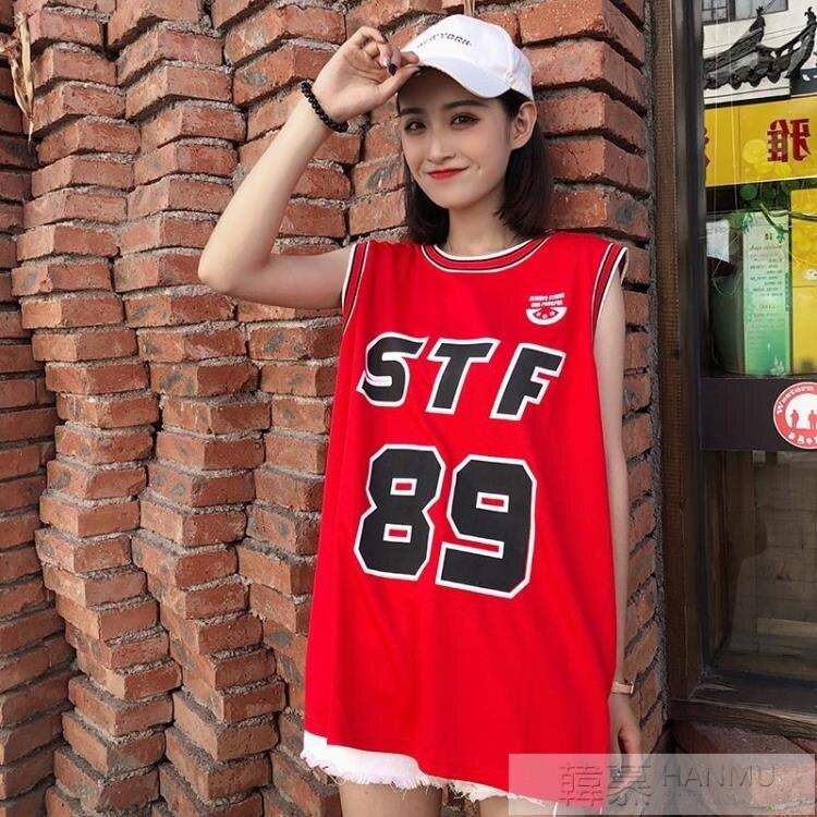 原宿bf風無袖t恤女夏韓版中長款外穿運動球衣籃球服印花寬鬆背心