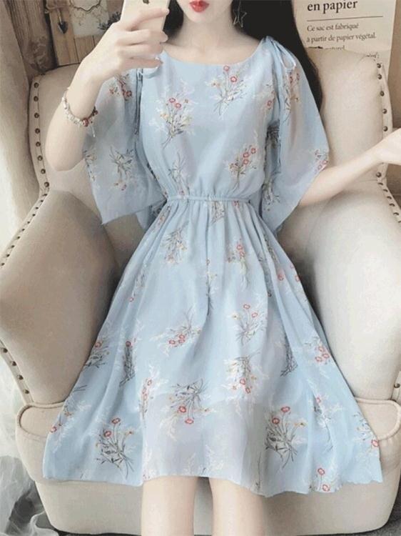 短袖洋裝—夏天新款超仙收腰溫柔小清新個子碎花雪紡連身裙少女心 全館八八折