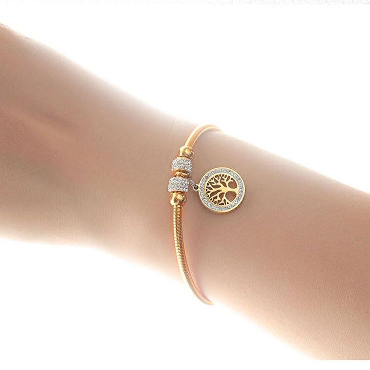 【5折超值價】時尚精美生命之樹鑲鑽造型女款鈦鋼手環