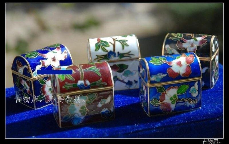 禮物特價 【妝】掐絲琺琅景泰藍別致首飾盒粉盒銀藍