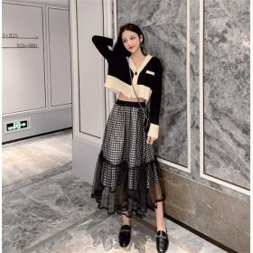 大人の魅力高まる 手触り良い 初秋 ファッション 新作 韓国 カジュアル ゆったりする エレガント 百掛け スカート チュール 気質 チェック柄 小さい新鮮な 学院風 ロングスカート