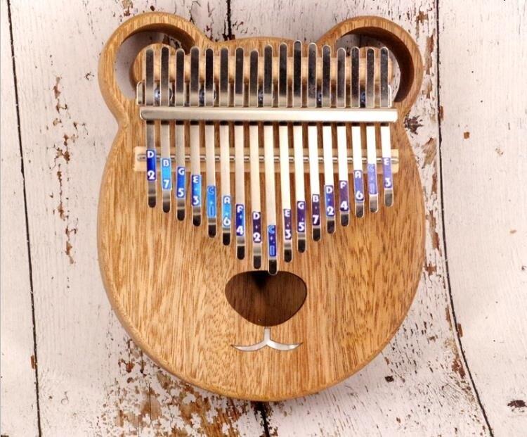 拇指琴 KIMI可愛小熊牛頭梗卡林巴拇指琴10音17音紅橡木菠蘿格全單 年會尾牙禮物