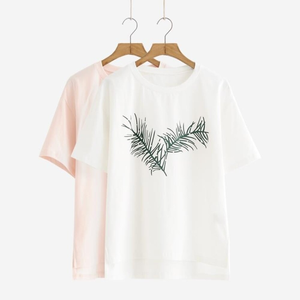 T恤舒然衣社小清新樹葉上衣學生打底衫白色短袖T恤 清涼一夏钜惠