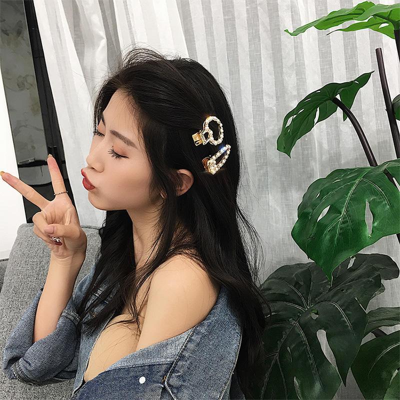 網紅發卡女2018新款潮珍珠發夾成人韓國劉海夾子卡子新娘頭飾發飾1入