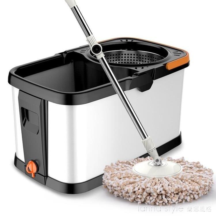 雙驅動免手洗拖把桶加厚帶輪省力省水不銹鋼金屬籃旋轉拖把拖布桶
