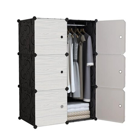 簡易衣櫃組裝實木紋衣櫥組合收納塑料布藝鋼架儲物簡約現代經濟型 生活樂事館NMS 清涼一夏钜惠