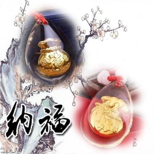 項鍊 彌月禮 黃金水晶鑲金箔S999千足金福字/吊墜/項鏈