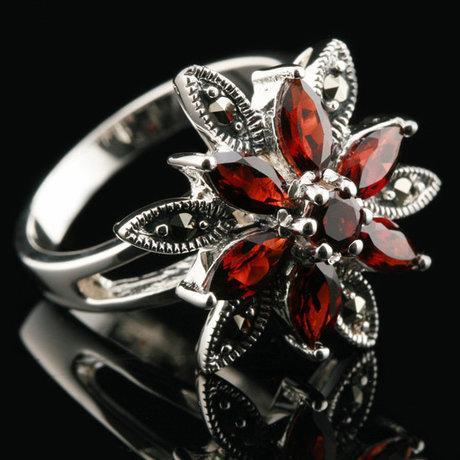 銀飾品泰銀食指戒指指環複古老銀匠誇張玫瑰花女石榴石