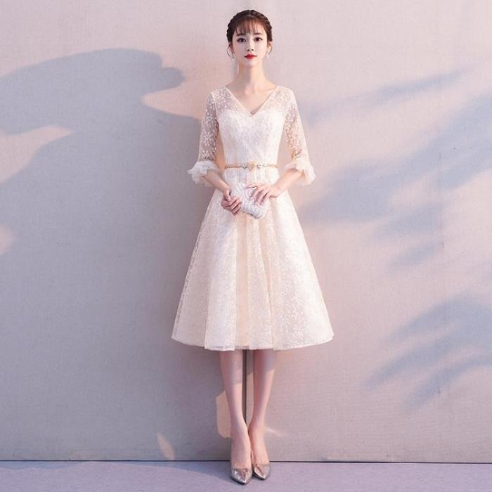 宴會禮服 洋裝小禮服裙2019新款閨蜜宴會姐妹團中長款香檳色伴娘服顯瘦春季