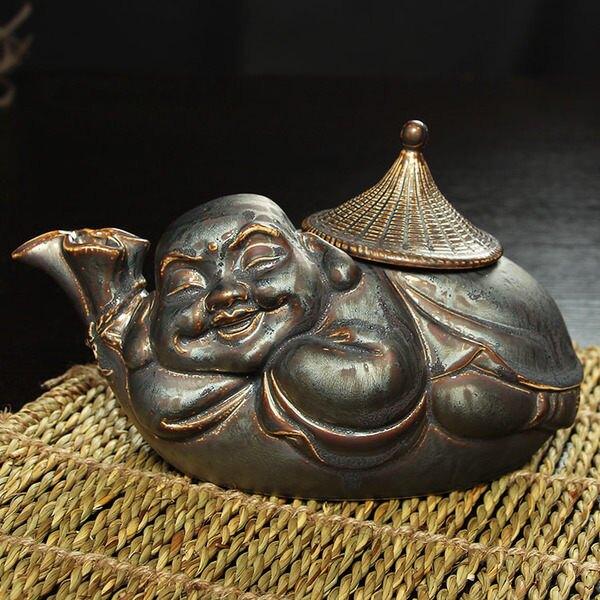裕峰茶具陶瓷鐵釉布袋佛