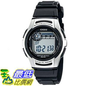[美國直購] 手錶 Casio Mens W213-1AVCF Basic Black and Silver Digital Watch