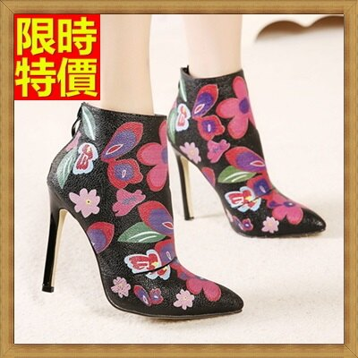 高跟短靴女靴子-歐美復古印花女高跟鞋子2色66c38【獨家進口】【米蘭精品】