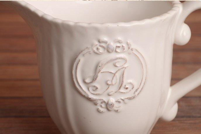 歐式白色做舊浮雕花紋時尚陶瓷奶杯 早餐牛奶杯 豆漿杯 麥片杯