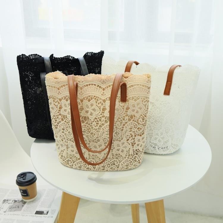 水桶包春夏韓版森系蕾絲唯美側背包手提包女士大容量水桶購物袋