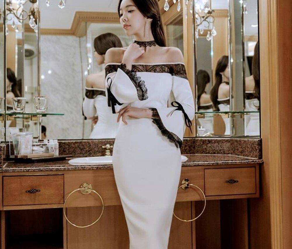 新款裝春裝性感一字肩露背蕾絲喇叭袖中長款開叉包臀連身裙 都市時尚
