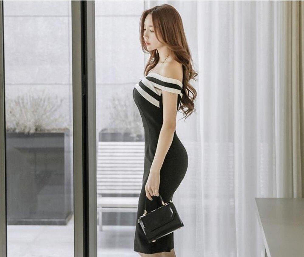 夏季新款裝名媛一字領露背裝撞色修身開叉包臀露肩連身裙 都市時尚