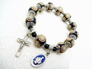 [s192-1]天主教飾品 時尚古珠一端苦相十字架男士手鏈
