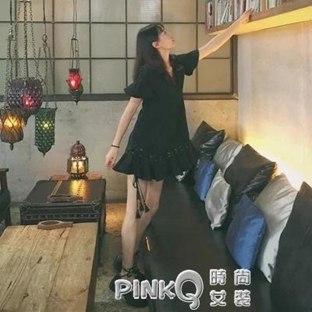 日系學院風原宿暗黑系洛麗塔圓頭cos皮鞋學生鞋lolita綁帶皮鞋  【PINK Q】