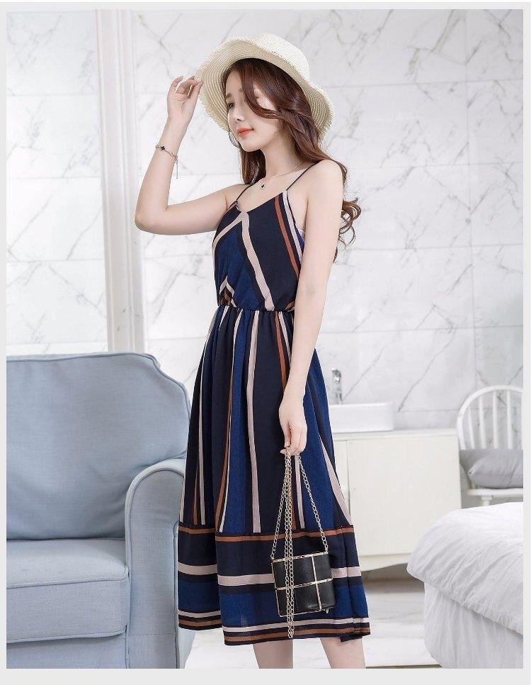FINDSENSE G5 韓國時尚 夏季 波西米亞 吊帶 條紋 拼色 中長款 連身裙