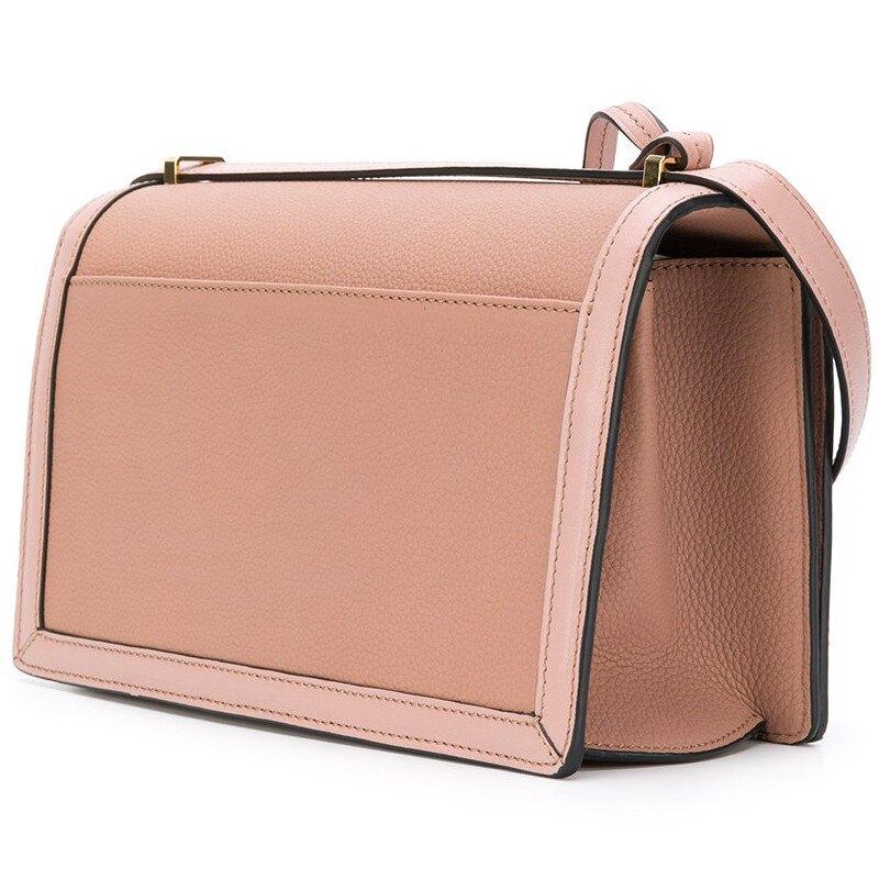 Loewe 羅威 Barcelona 巴塞隆納中款粒面小牛皮及皮革肩背兩用包 粉色
