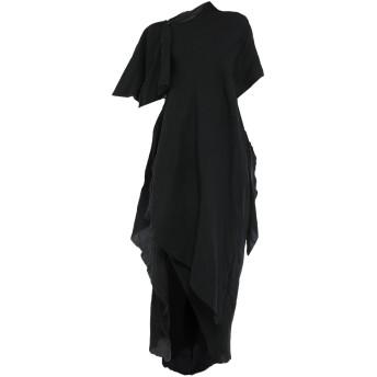《セール開催中》YOHJI YAMAMOTO レディース ロングワンピース&ドレス ブラック 1 指定外繊維(テンセル) 50% / 麻 50%