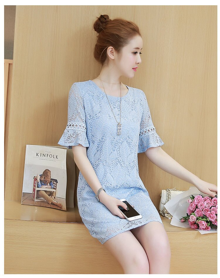 FINDSENSE G5 韓國時尚 夏裝 新款 顯瘦 淑女 鏤空 喇叭袖 蕾絲 連身裙