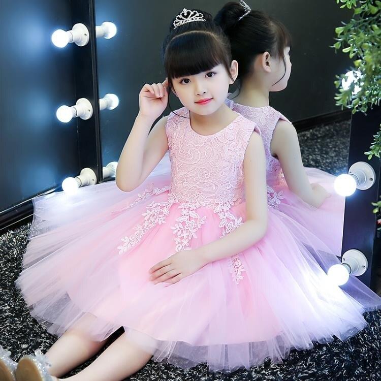 童裝女童連身裙花童婚紗禮服兒童公主裙背心裙寶寶生日蓬蓬裙夏裝