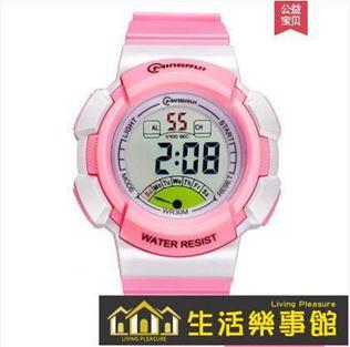 兒童手錶女孩電子表防水小學生運動電子手錶女夜光多色