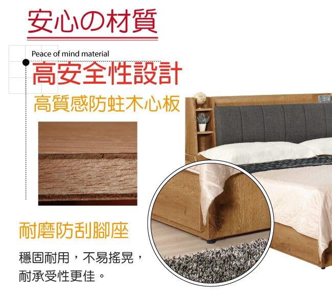 【綠家居】歌倫 時尚5尺棉麻布雙人三抽床台組合(床頭箱+三抽床底+不含床墊)