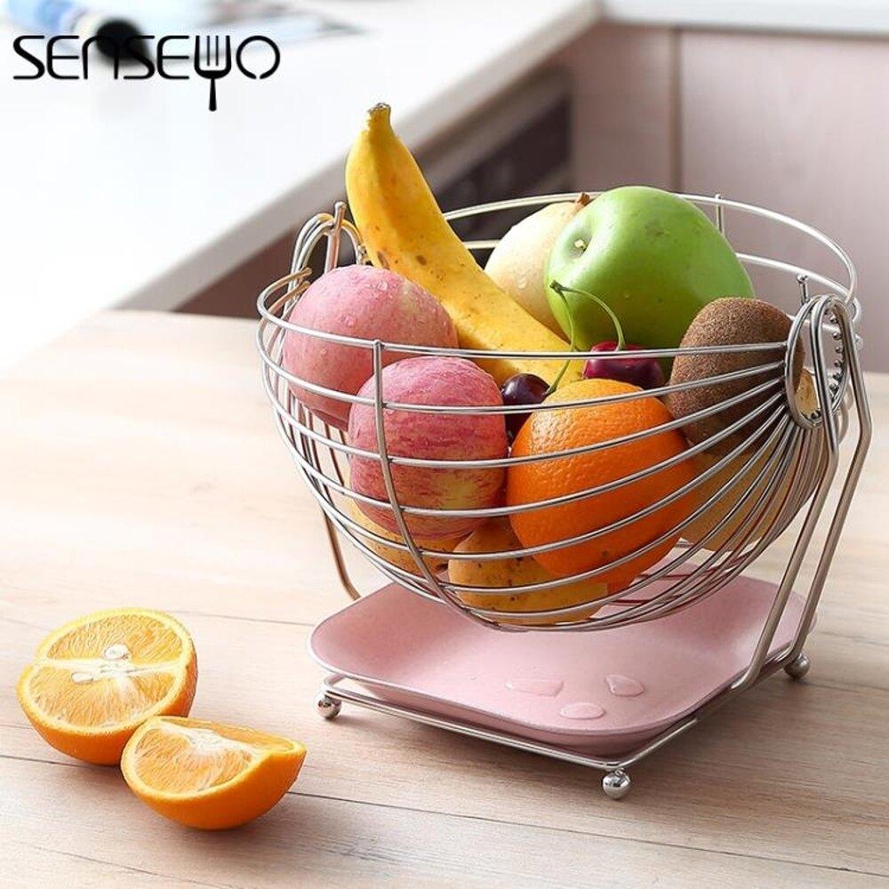 果盤 創意304不銹鋼水果籃 客廳水果盤家用收納籃瀝水果盆歐式糖果盤 曼慕衣櫃
