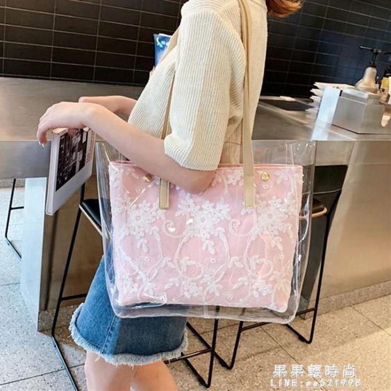 包包女2019新款韓版潮大容量透明果凍托特包ins新款手提單肩大包