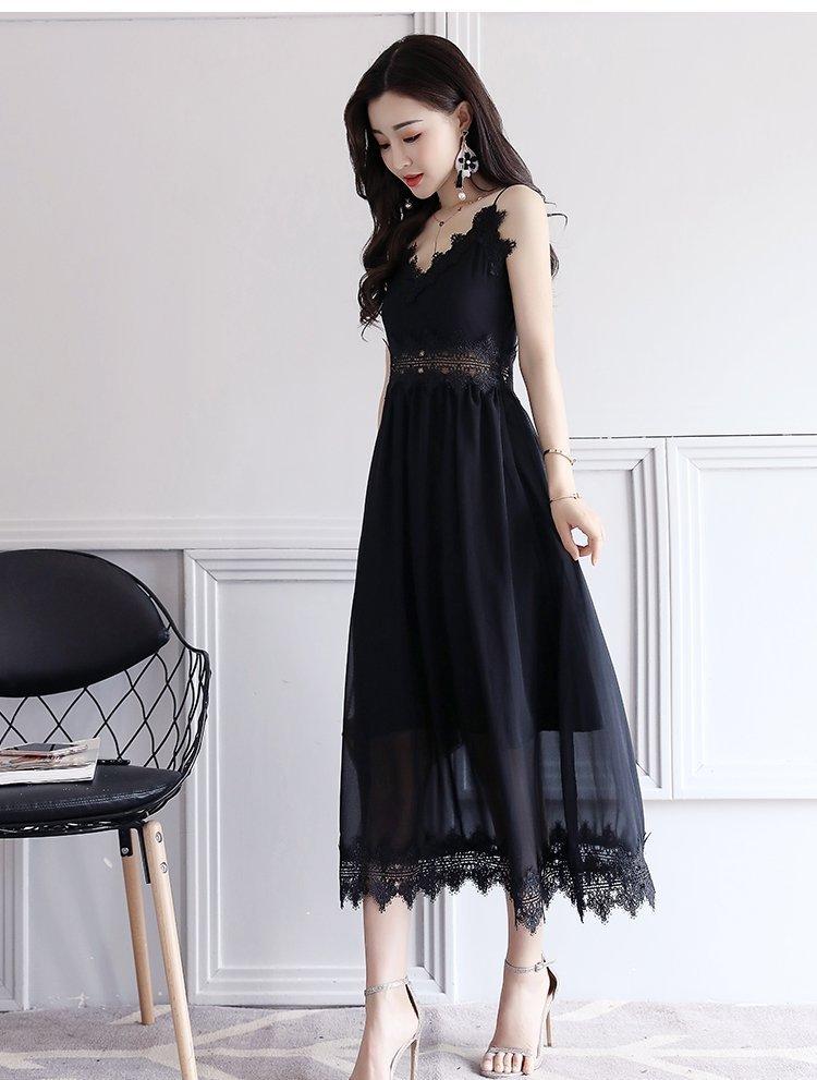 FINDSENSE G5 韓國時尚 夏季 新款 高腰 鏤空 吊帶 蕾絲 拼接 性感 優雅 連身裙
