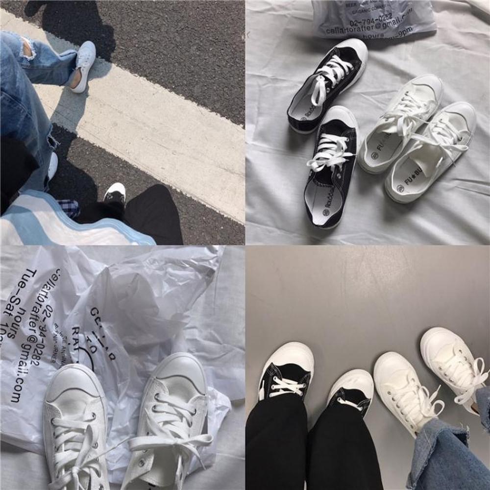 舒適韓風學生小白鞋新款小清新百搭系帶平底帆布鞋女