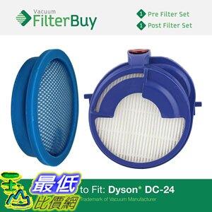 [106美國直購] 適用於 Dyson DC24 filter 濾網組一組2入 (DC-24) Pre & Post Filter Kit, Part  913788-01 & 915928-01.