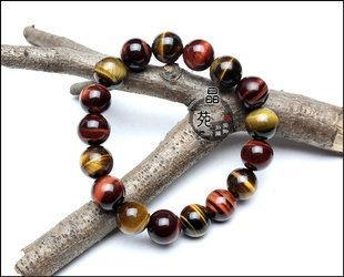 水晶手鏈12mm三彩虎睛石時尚百搭水晶手鏈