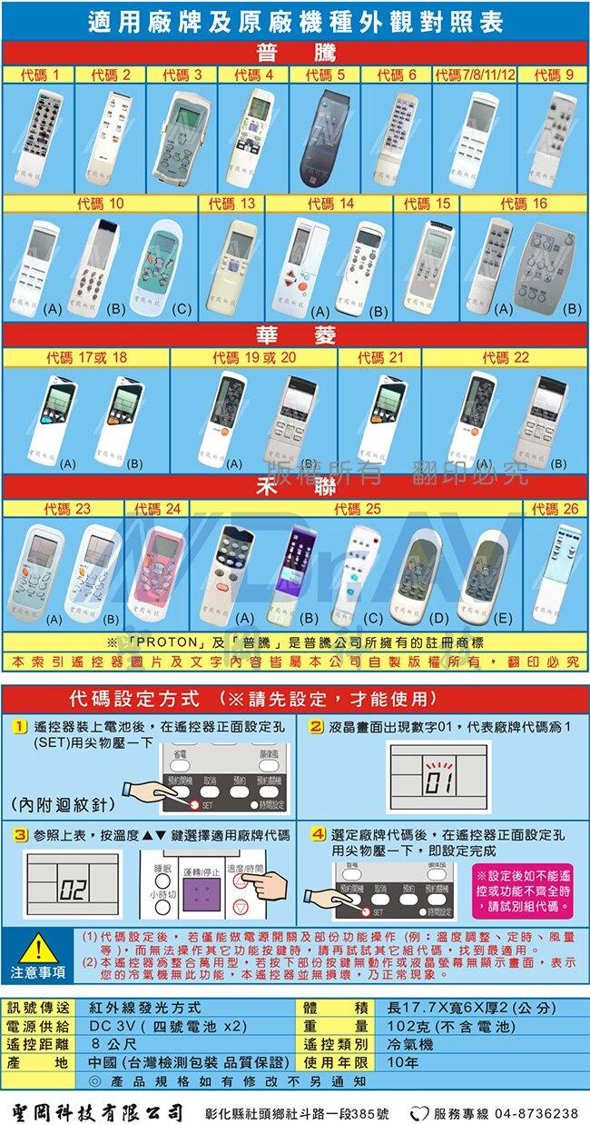 【Dr.AV】AI-R1普騰+華菱+禾聯冷氣遙控器(北極熊系列)