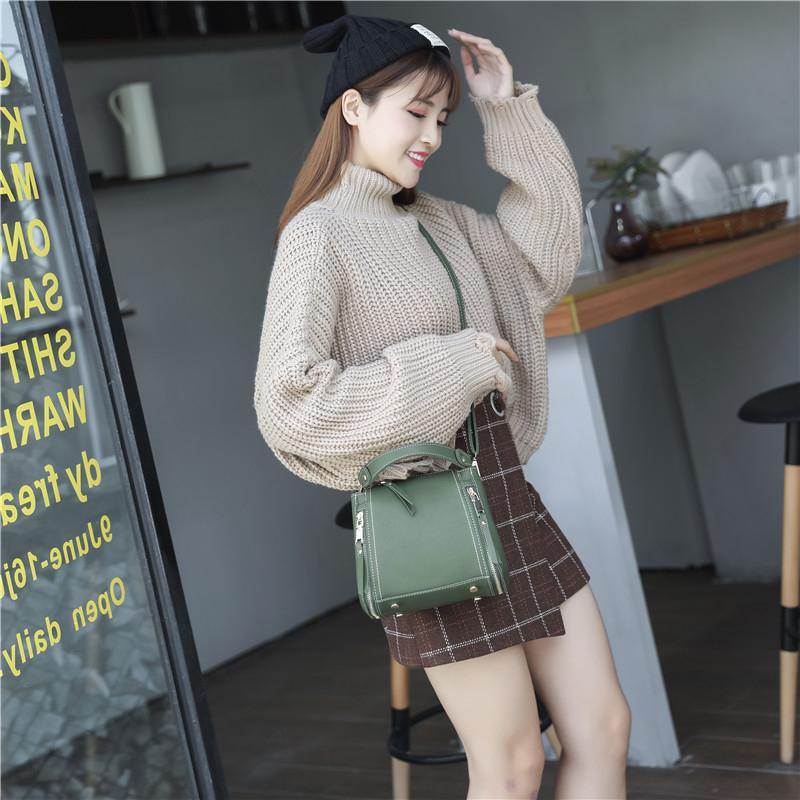 女士小包包2018新款韓版手提水桶包單肩女包斜挎包時尚簡約百搭潮 全館八八折