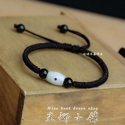 手工編織瑪瑙個性黑繩手男韓版情侶簡約轉運珠紅繩手女學生潮