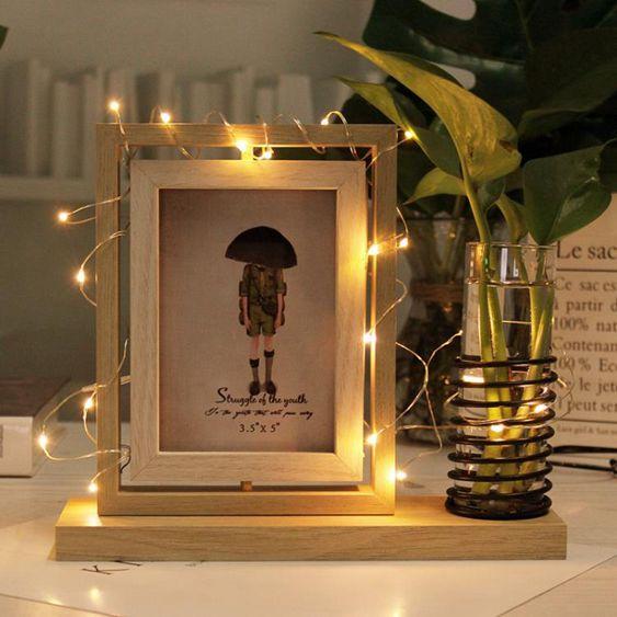 相框創意雙面相框5寸北歐辦公桌面水培旋轉擺臺LED燈裝飾照片像框相架