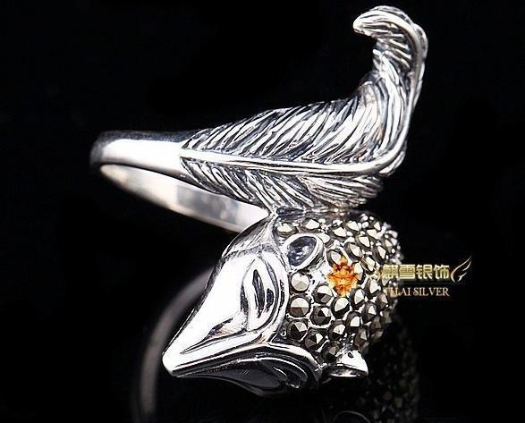 銀飾品泰銀複古馬克賽石個性狐狸食指戒指女款