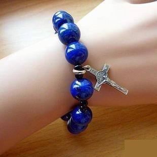 [s192-2]天主教飾禮品時尚簡約苦相十字架手鏈 青金石12mm